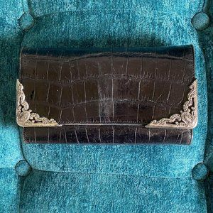 Vintage Brighton Embossed Leather Wallet On Chain